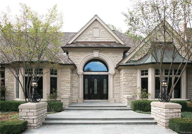 - Beautiful front entrance with blue stone steps and custom front door with leaded glass