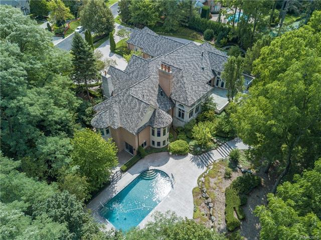 - Aerial of estate showing privacy of the lot and pool.