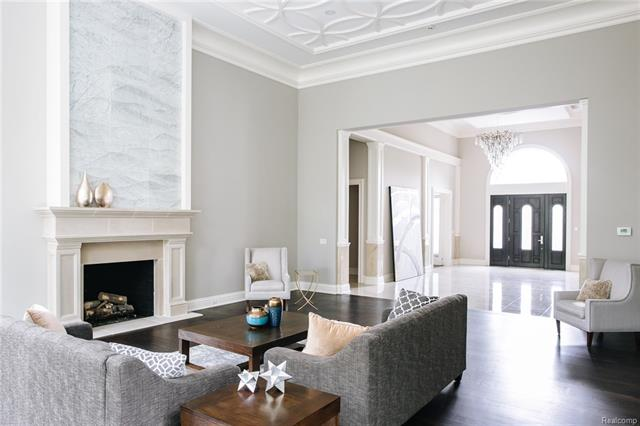 - Living Room with Carrera marble