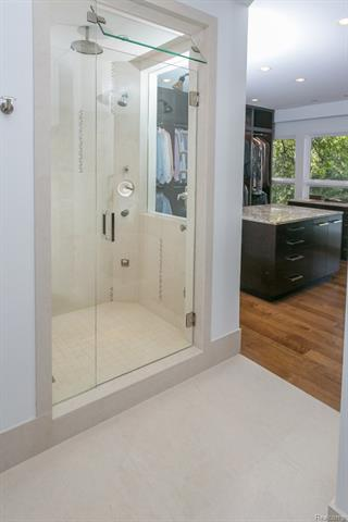 - His master shower view to closet