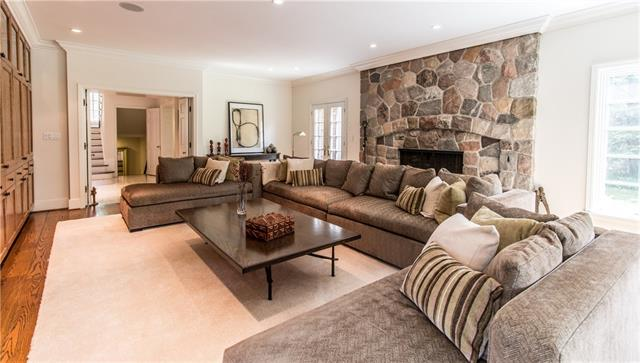 - Family room with large stone fireplace