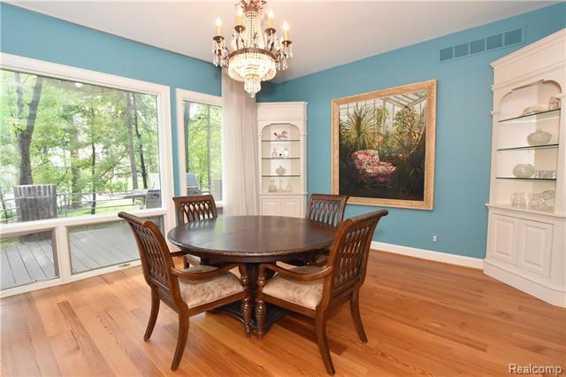 - Dining room with custom cabinets